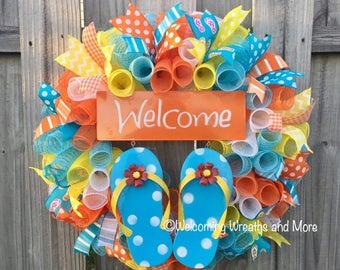 Flip Flop Wreath, Summer Wreath, Spring Wreath, Welcome Wreath, Flip Flop Mesh Wreath, Mother's Day Gift