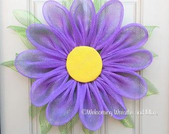Daisy Wreath, Purple Flower Wreath, Mesh Flower Wreath, Daisy Wreath, Flower Wreath, Daisy Door Wreath, Summer Wreath, Spring Mesh Wreath
