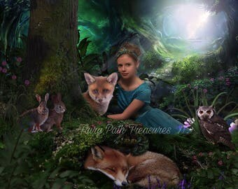 Woodland Friends Digital Photography Backdrop
