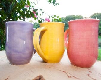 Handmade coffee mug in bright colors, Custom Coffee Mug, Pottery coffee mug, Stoneware coffee mug
