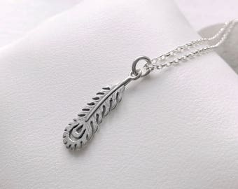 Short necklace in 925 sterling silver Peacock feather