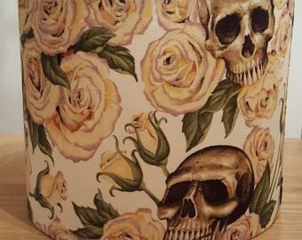 Resting In Roses Skull Tattoo Lampshade