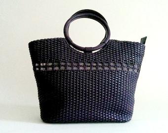 Lulu Guinness Purple basket weave round handled plastic handbag