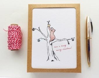 Beary Merry Christmas Card Set / Cute Bear Holiday Card Set / Christmas Tree Illustration Card/ Christmas Bear Holiday Illustration