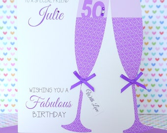Personalised Handmade Birthday Card 18th,21th,30th,40th,50th,60th, Sister, Friend, Daughter, Mum