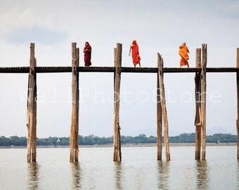 Travel Photography, Monks on U Bein Bridge  in Amarapura Myanmar (Burma), Bridge Photography, Fine Art Photography, Wall Art Print