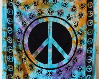 Tye Dye Peace Sign Tapestry