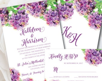 Floral Wedding Invitation, Purple Wedding Invitation, Printable Wedding Invitation, Purple Wedding, Wedding Invitation, Hydrangea Wedding