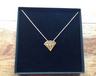 Gold solid geometric diamond necklace