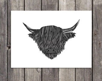 Cow Wall Art highland cow art | etsy
