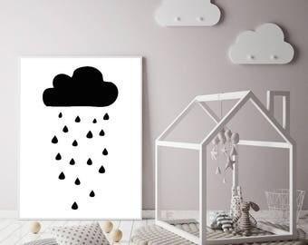 Monochrome Rain Cloud Print - Scandi Print - Monochrome Nursery Print