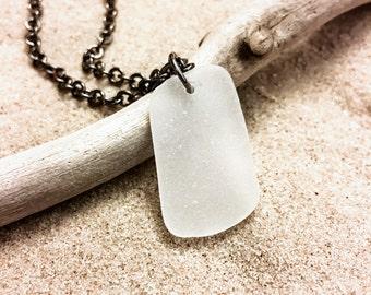 White Sea Glass Gunmetal Necklace