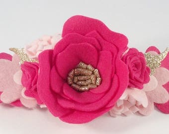 Pink flower crown - flower girl accessory