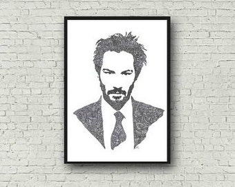 Keanu Reeves A4 Zentangle Art Print with Legend