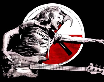 PRINT Roger Waters performing the Wall