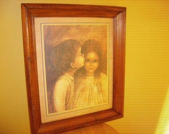 Vintage Margaret Kane little Kiss Framed   Signed ( 1970's)
