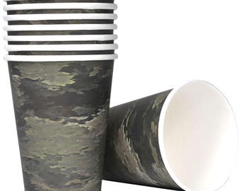 Military Camo 12 Ounce Hot/Cold Paper Cups 8 Pack