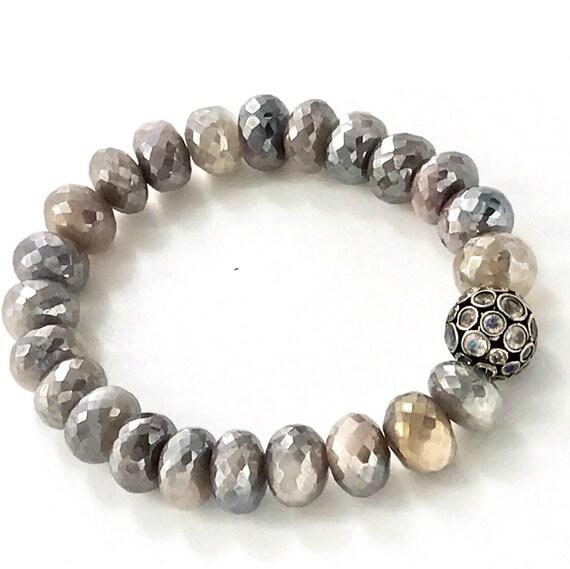 beaded stretch bracelet gemstone moonstone