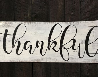 Hand-painted wood sign, Thankful