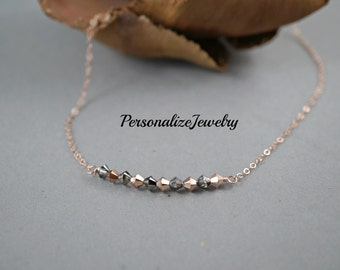 Rose gold necklace, Delicate necklace, Gift for birthday, Simple necklace, 14k rose gold filled, Crystals in row, Silver night rose gold