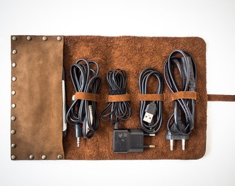 handmade leather cord wrap with pocket leather cable organizer cord roll cord