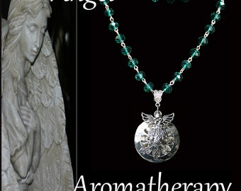 Christmas Sale - Essential Oil Diffuser Green Bead Angel Necklace Young Living Doterra Aromatherapy