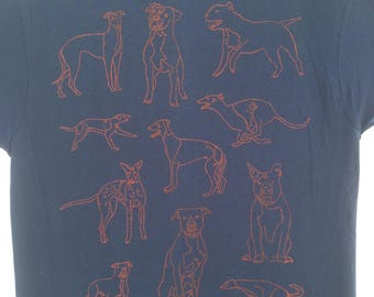 Pit Bull Tee Shirt- Greyhound Tee Shirt- Dog Tee Shirt- Pit Bull Gift- Greyhound Gift- Dog Lover Tee Shirt- Hand Drawn- Screen Print