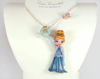 Necklace, pendant,  polymer clay,  fimo,  cernit,  unique,  Cinderella, princess