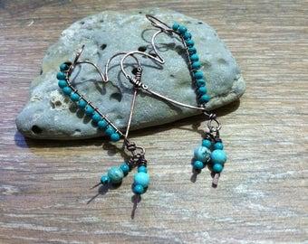BOHO Heart Earrings with Turquoise Dangles