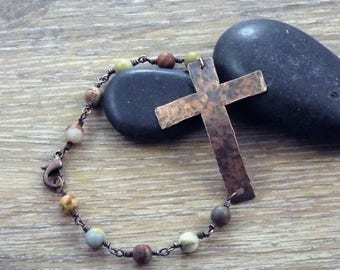 Beautiful Hand Forged Cross Bracelet