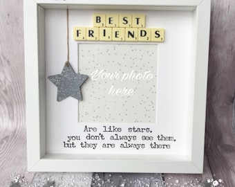 best friends are like stars handmade scrabble frame best friends gift gift for friends friend gift best friend frame birthday gift