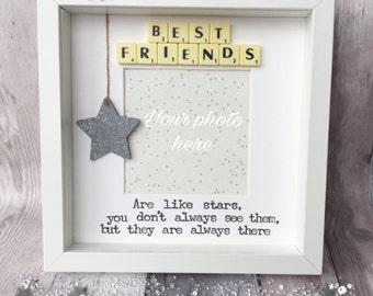 best friends are like stars handmade scrabble frame best friends gift gift for friends friend gift best friend frame birthday gift
