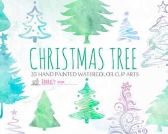 Christmas clipart. Christmas tree clipart. Pine tree clipart. Christmas tree watercolor. Christmas watercolor. Clipart