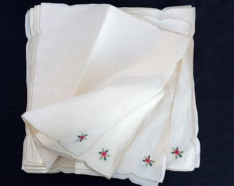 Linen Napkins. Vintage Set of 12 Ivory/Cream Cross Stitch Hand Embroidered Linen Napkins. RBT1562
