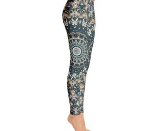 Womens Leggings - Nature Leggings, Brown and Green Mandala Yoga Leggings, Yoga Pants, Yoga Tights