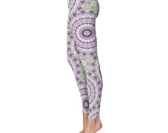 Hippie Pants - Green and Purple Funky Leggings, Unique Mandala Tights, Kaleidoscopic Printed Art Leggings