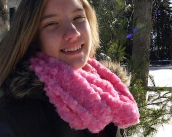 Hot pink micro-fleece infinity scarf.