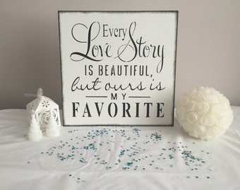 Love Story shabby chic wooden wedding sign