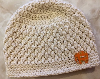 Handmade Crochet Hat with Wooden Elephant Button - Cotton Hat - Beanie - Toddler Hat - Baby Hat - Newborn - Infant Winter Hat - Texture Hat
