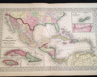 1867 Mitchell Map of Mexico Central America & the West Indies, Original Hand-Colored Map, Large Antique Map