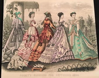 1868 French Fashion Print, Hand-Colored Print by Kimmel & Forster, Godey's Fashions Antique Print