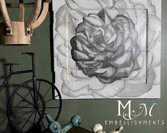 Hand Stained Rose Art, wall decor, wall hanging, painted cabinet door