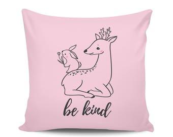 Be Kind Baby Deer Pillow, Woodland Animals Nursery Modern Decorative Throw Pillow