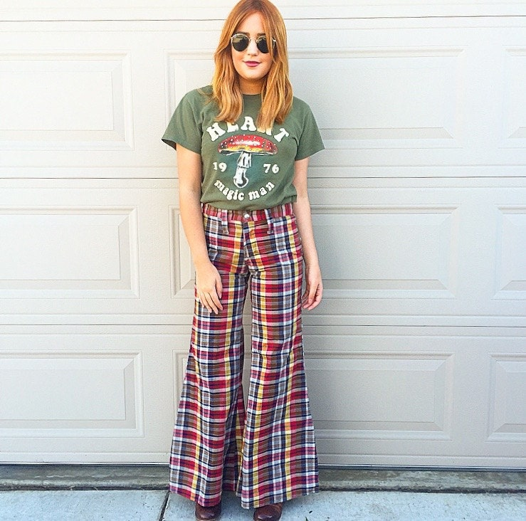 Vintage mod Marcia Brady inspired 1960's plaid super flared wide ...