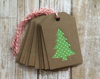 Kraft & Green Polka Dot Christmas Tree Gift Tags, Set of 10 - Favor Tags