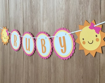 """Personalized """"You Are My Sunshine"""" Birthday Party Name Banner in Pink - Girls Birthday, Baby Shower"""