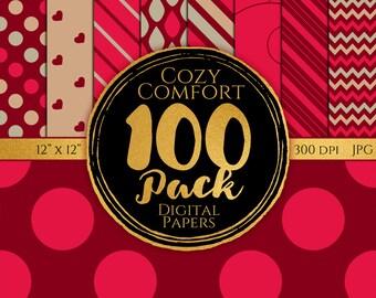 Digital Paper 100 Pack - Cozy Comfort - Commercial Use, Cozy Comfort Digital Patterns