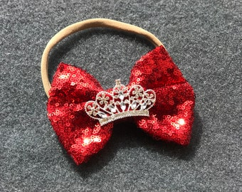 Baby Nylon Headband, Sequin Bow Tiara Nylon Headband, Sparkly Bow Tiara Headband, Baby Headband, Toddler Headband, Sequined Bow Headband