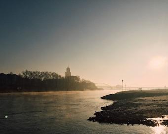Landscape, Deventer IJssel. River, minimalist, Sunrise, shillouet, vintage, city, nature, water, Dutch landscape. High gloss or