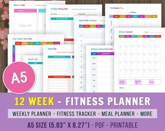 12 Week Fitness A5 Planner, Fitness Journal, Weight Loss Journal, Fitness Tracker, Weight Loss Planner, Fitness Planner Printable